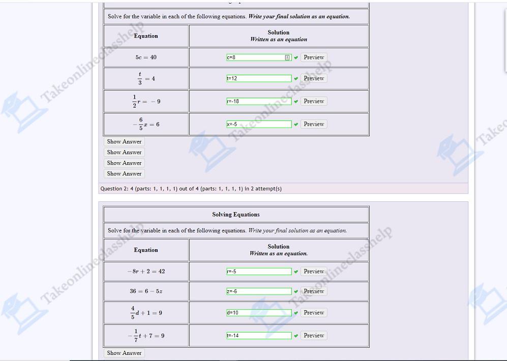 MyOpenMath HomeWork Answers