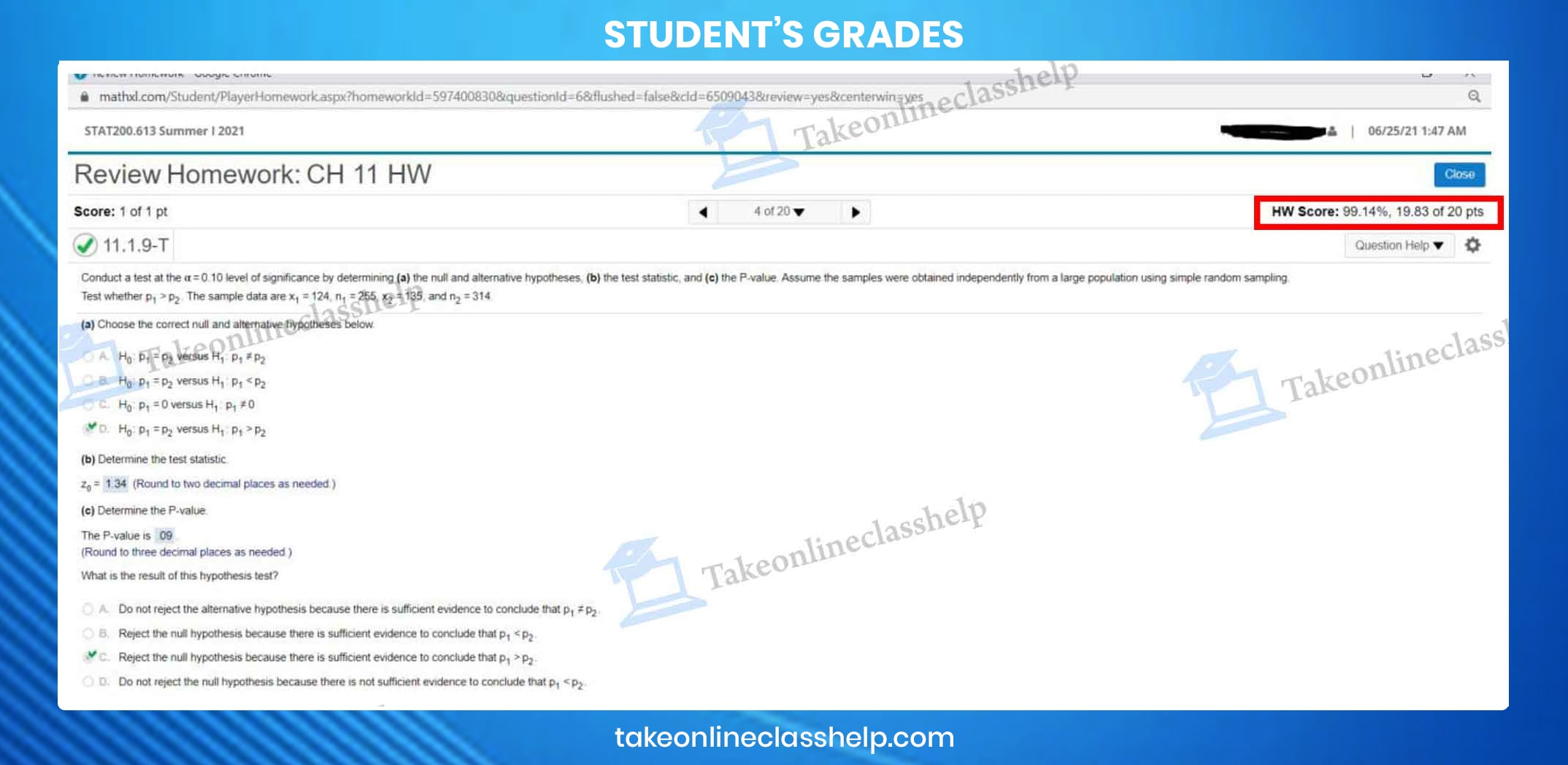 MathXL homework answers